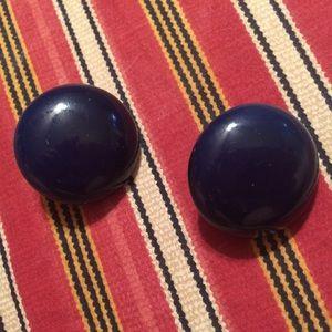 🚨3/$10🚨Vintage Clip-On Earrings Dark Blue Circle